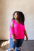 Split The Check Top In Fuchsia - DCB Size Small