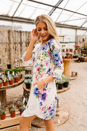 Terrace Garden Dress In Ivory