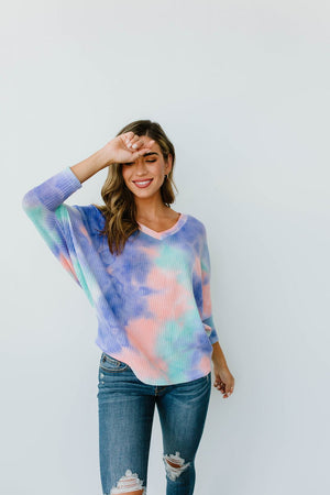 Textured Tie Dye V-Neck Top
