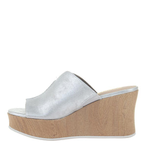 MADELINE GIRL - THROWBACK in SILVER Wedge Sandals
