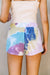 Tie Dye Swirls Shorts In Purple - DCB Size Medium
