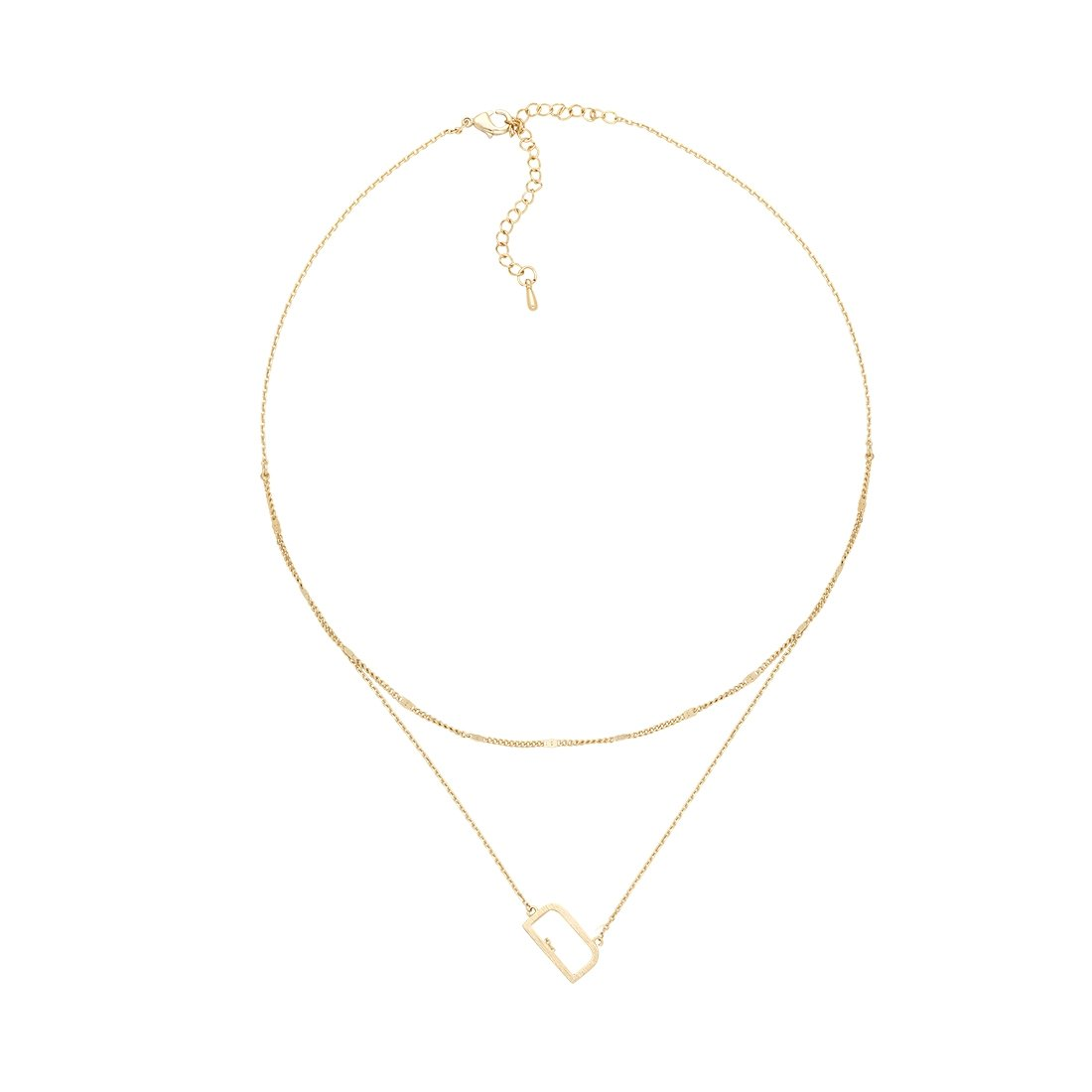D Gold Double Chain Necklace