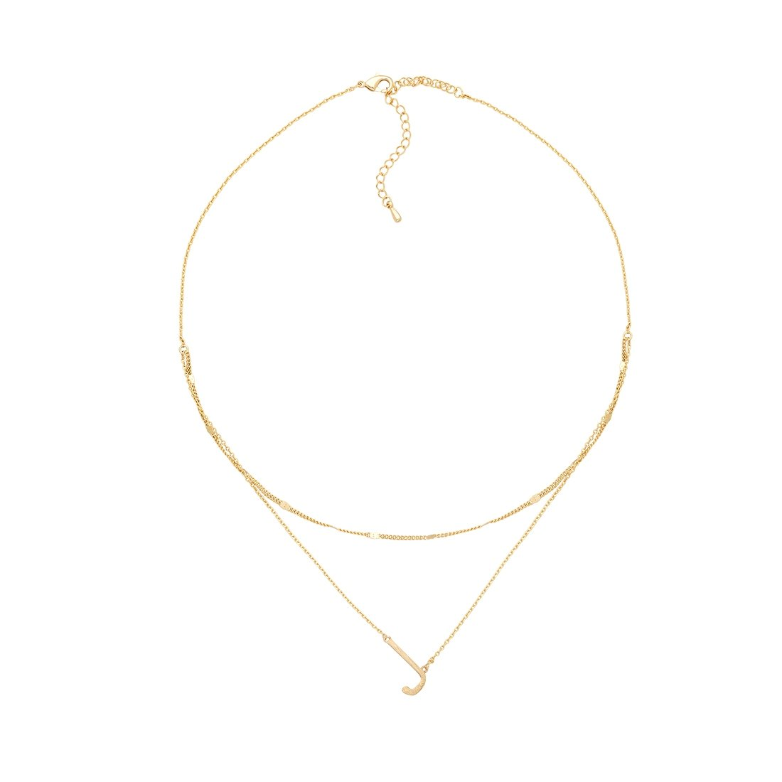 J Gold Double Chain Necklace