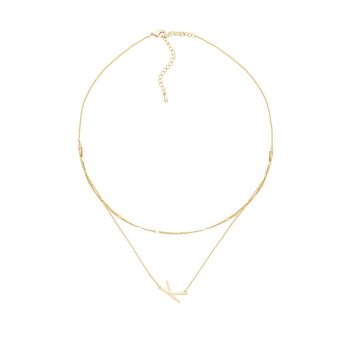 K Gold Double Chain Necklace