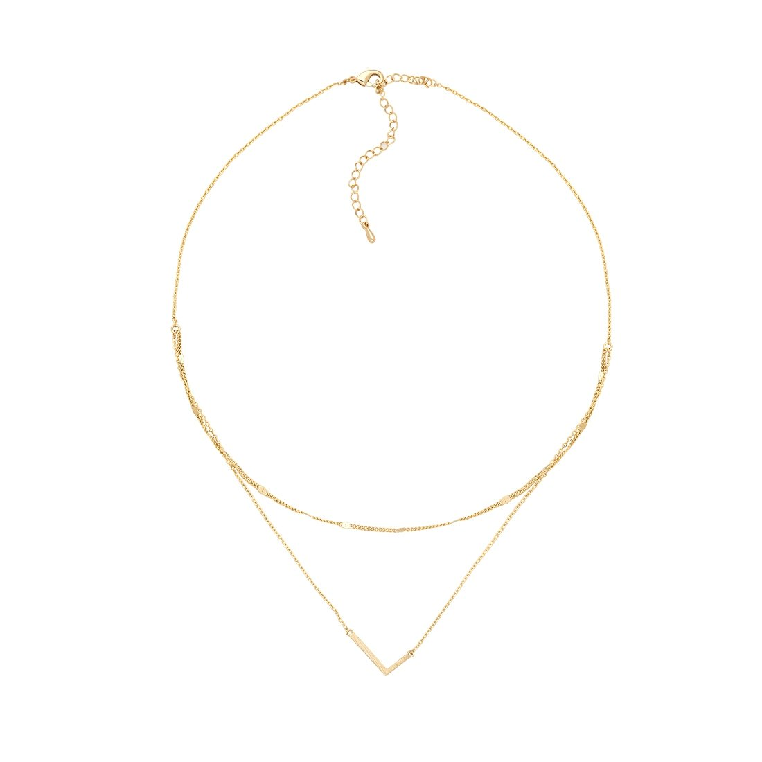 L Gold Double Chain Necklace