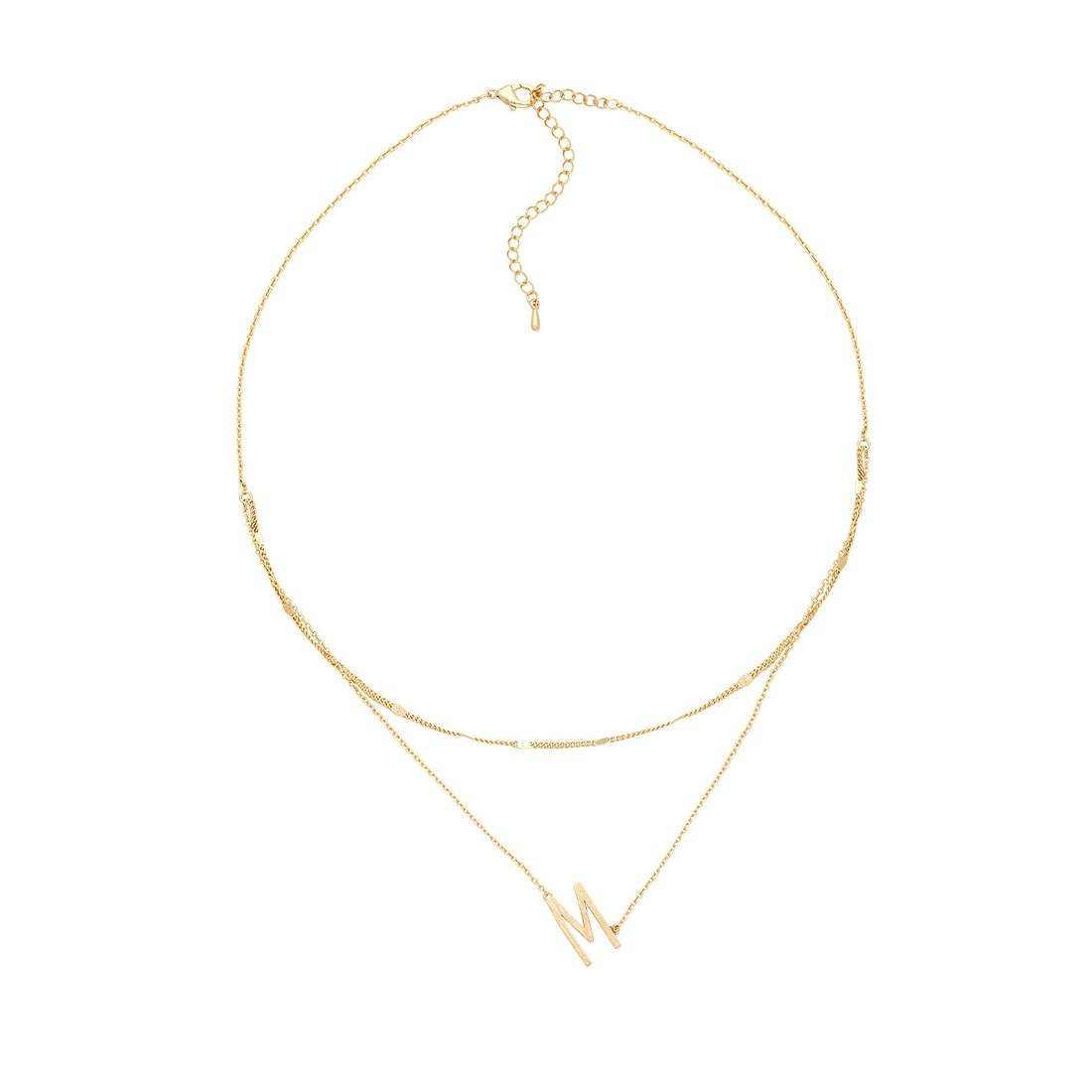 M Gold Double Chain Necklace