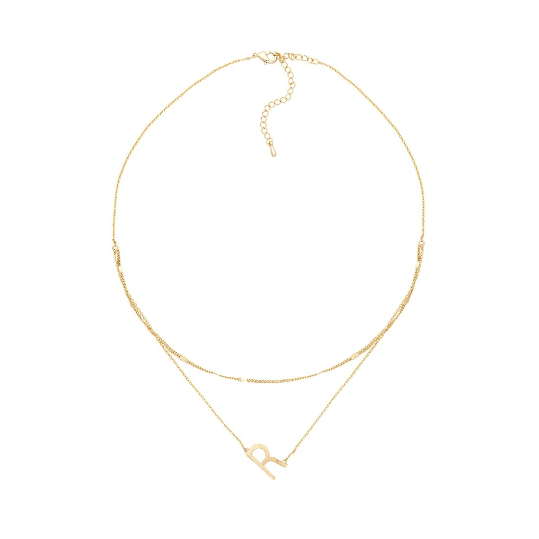 R Gold Double Chain Necklace
