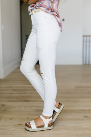 Judy Blue White Storm Destroyed Skinny Jeans
