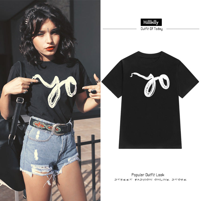 Animal Printing Snake T-shirts Cotton Tees