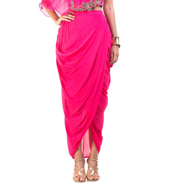 India Saree Fuchsia Color High Low Chiffon Ankle Length