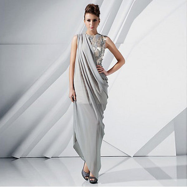India Style Saree Silve Party Dresses Beaded Vestidos Longo
