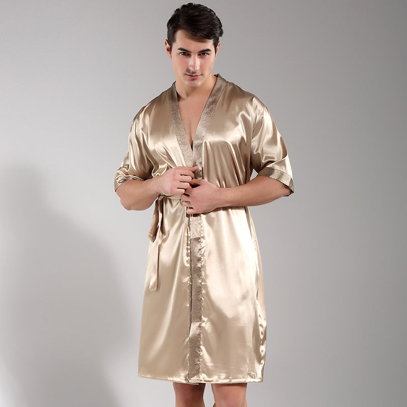 Men Sleepwear Satin Rayon Nightwear Casual Gown Printed Flower Intimate