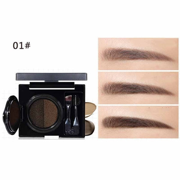 Women Double-Color Waterproof Long Lasting Air Cushion Eyebrow Cream Enhancers Cosmetics