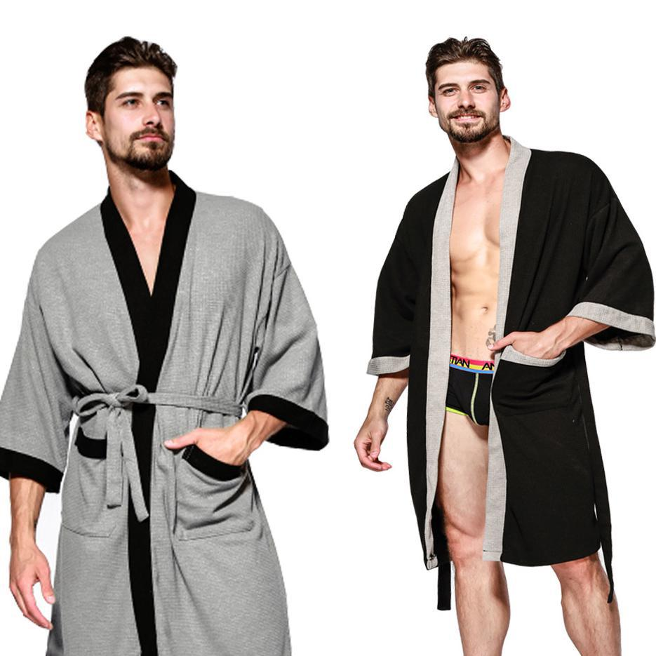 Men's Casual Solid Spring Autumn Robe Sleepwear Gown Loose Intimate