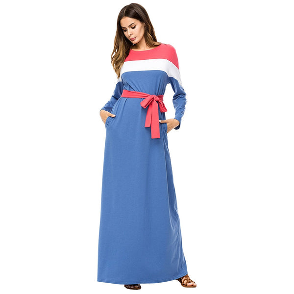 Spring Autumn Dress for Women Ethnic Striped Long Dress Fashion Muslim Casual Dresses