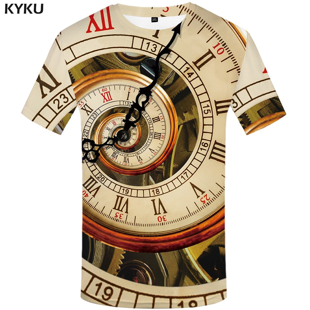 Clock T-shirts Men Metal Printed Vortex Mechanical Tshirts Casual Geometric Print