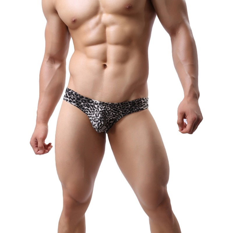 Cueca Men Underwear Leopard Pattern  Low Briefs Size M-XXL Breathable Male Underpants Intimate