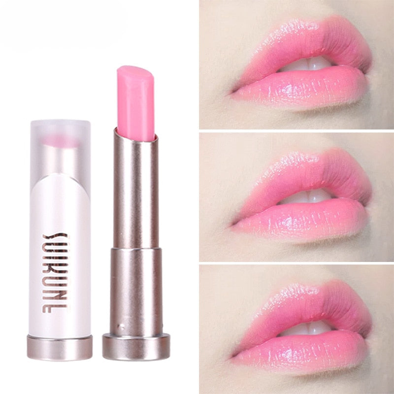 New Pink Gradient Color Nude Lipstick Waterproof Long Lasting Makeup Moisturizing Lip Gloss