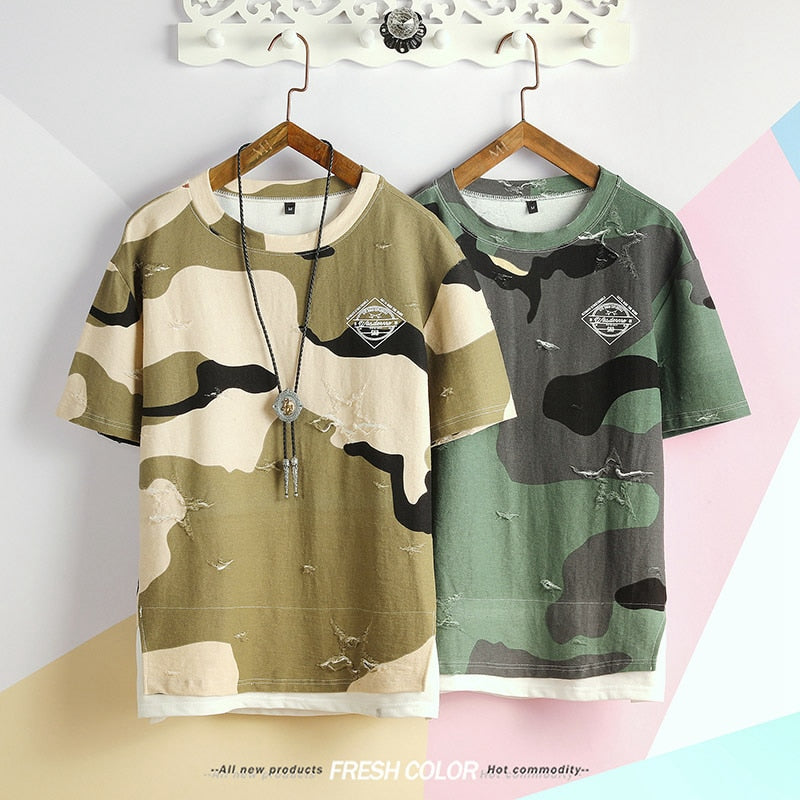 Spring tactical Camouflage mens Military broken T shirt