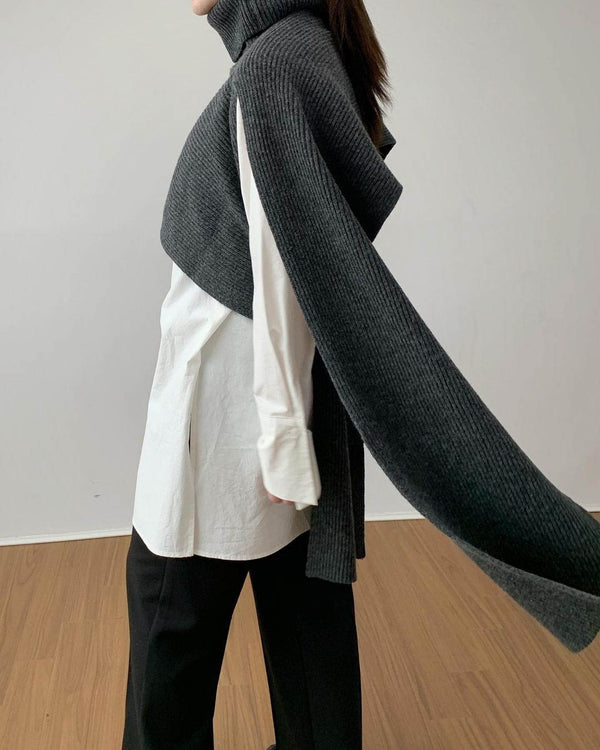 Turtleneck Wool Cape