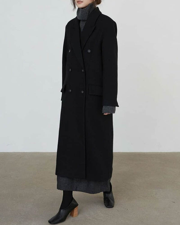 Double Breasted Oversize Wool Overcoat