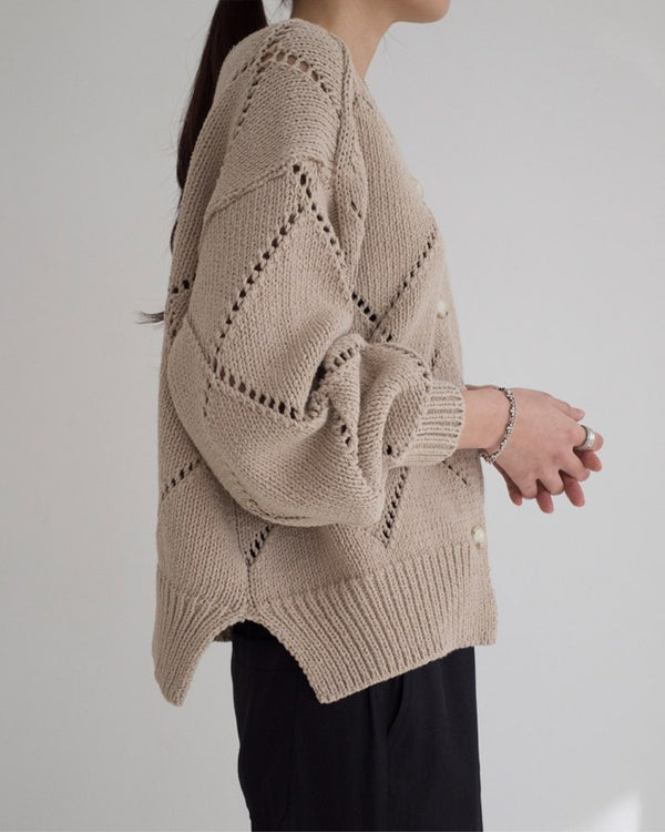 Diamond Stitch Cardigan Beige