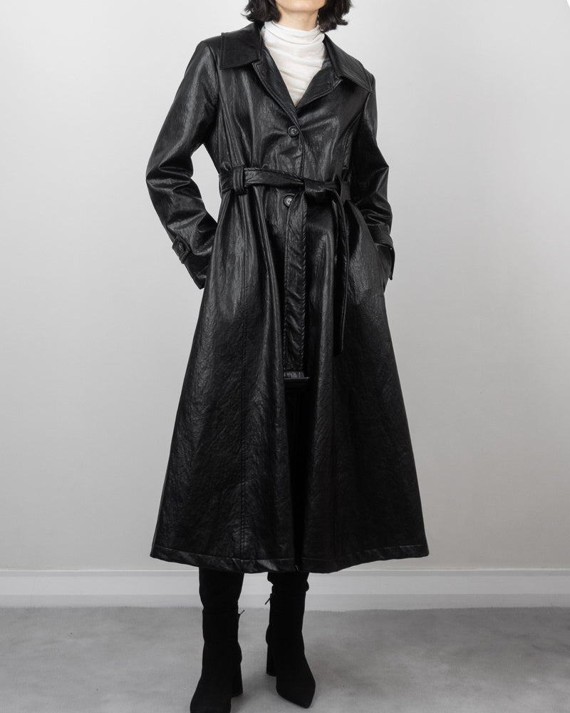 A-Line Leather Trench