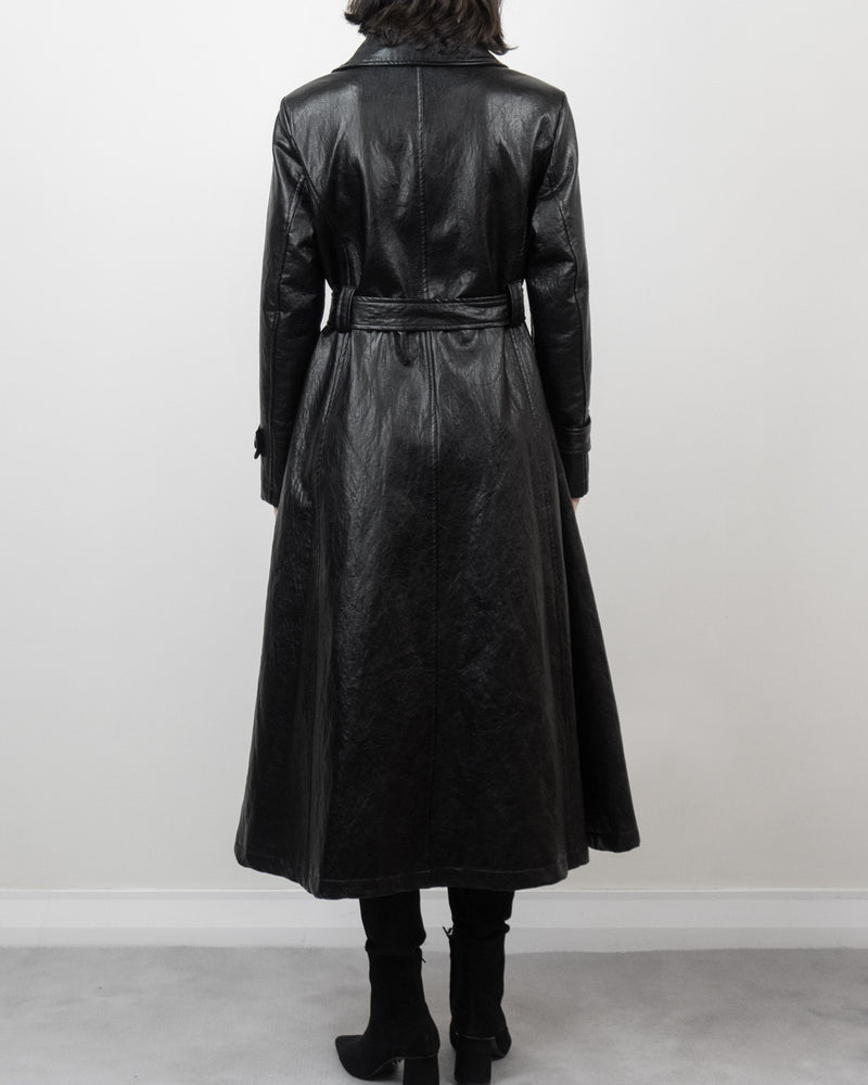 A-line Faux Leather Trench