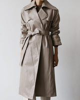 Ansel Vegan Leather Tie Trench Beige