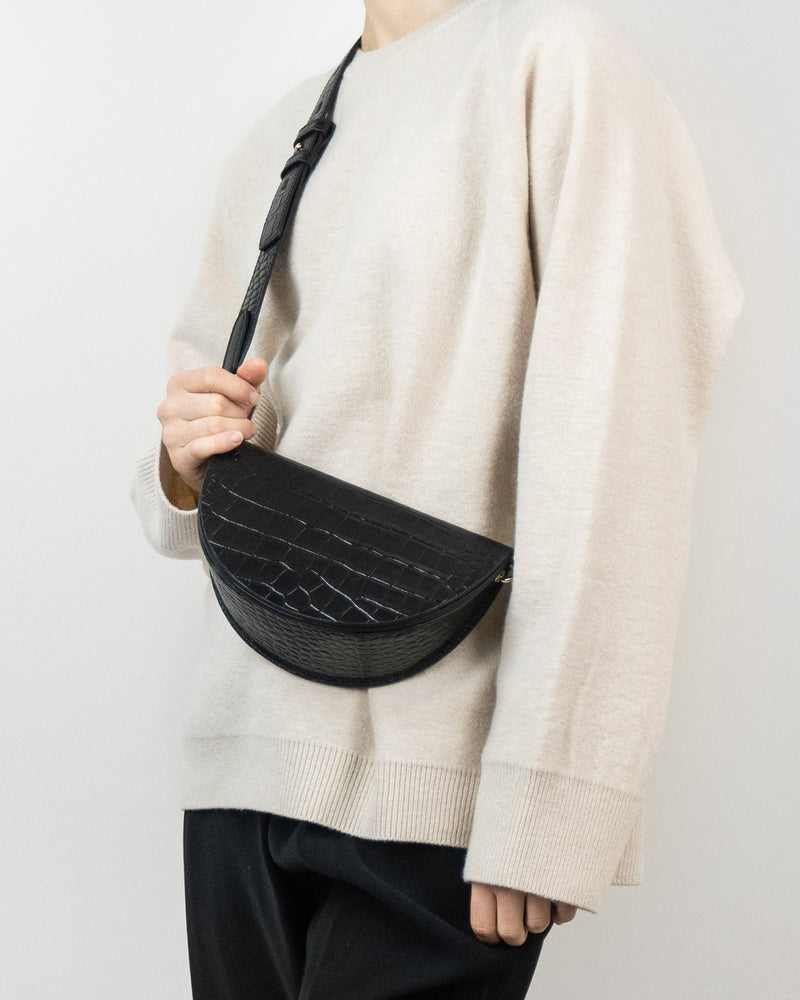 Leather Croc Crossbody Wine