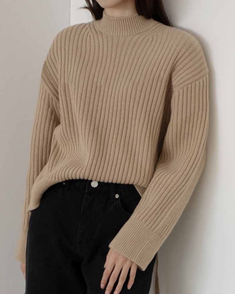 Back Tie Ribbed Sweater