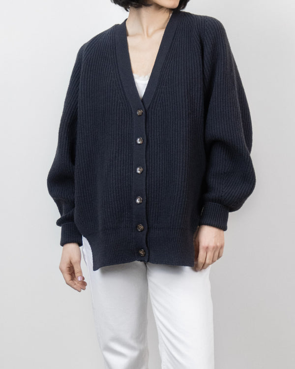 Sanna NY V Neck Cardigan Charcoal