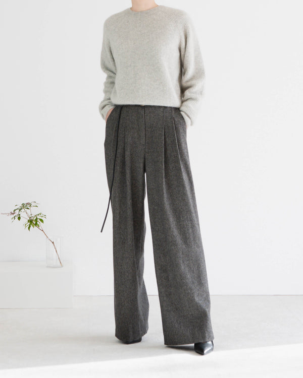 Tanne Belted Tweed Trousers Charcoal