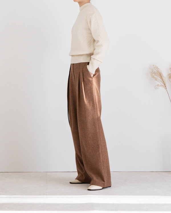 Tanne Belted Tweed Trousers Spice