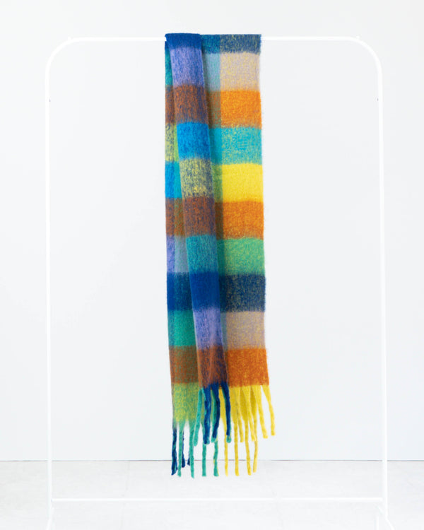 SANNA MULTI CHECK FRINGE SCARF BLUE