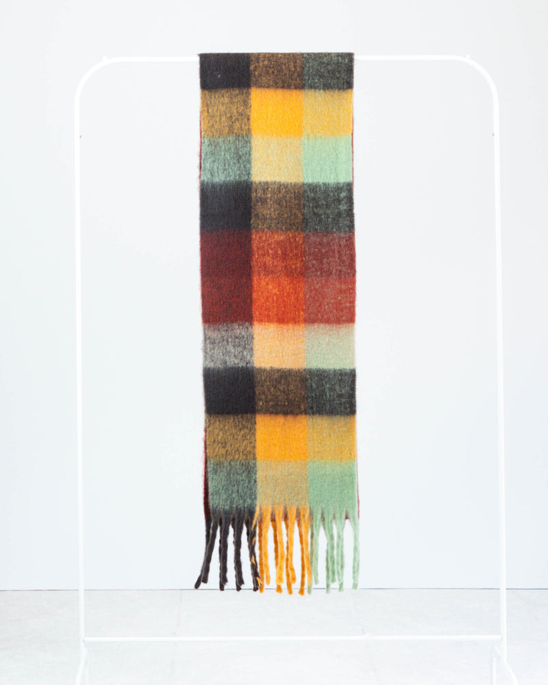 Multi Check Fringe Scarf Rust