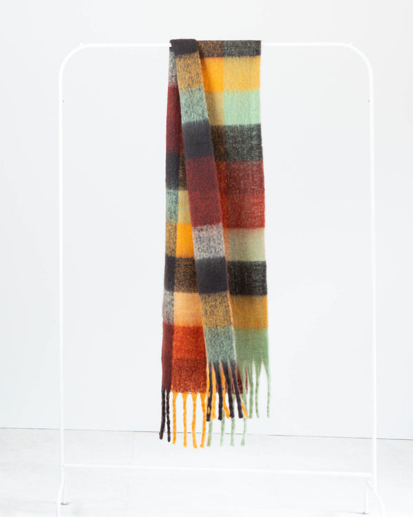 SANNA RUST MULTI CHECK SCARF