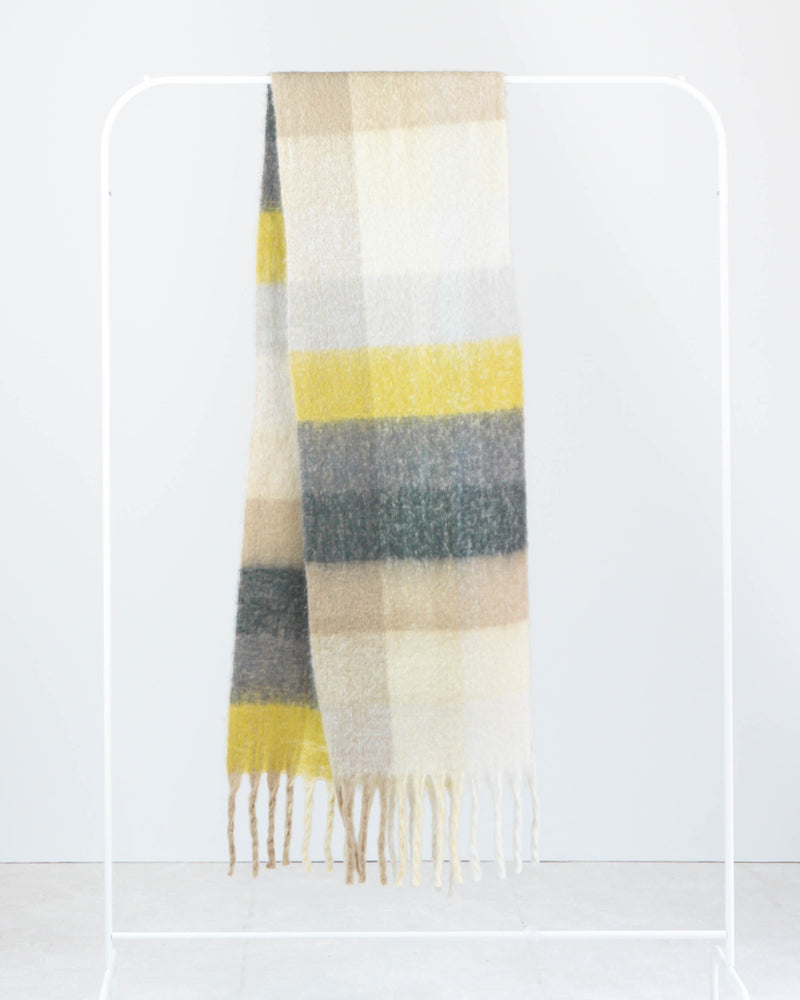Multi Check Fringe Scarf Yellow