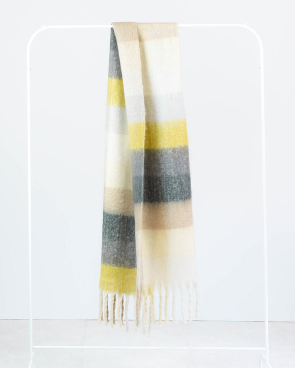 SANNA MULTI CHECK SCARF YELLOW