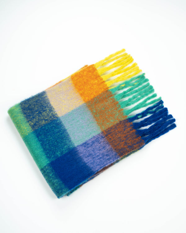 Multi Check Fringe Scarf Blue