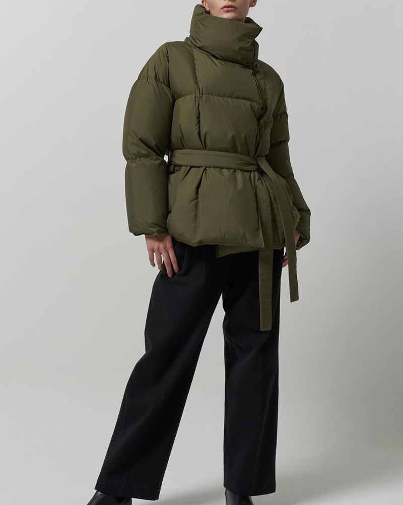 Olive Green Belted Puffer Coat