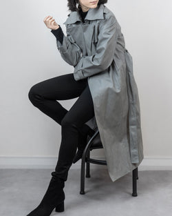 Ansel Vegan Leather Tie Trench Grey