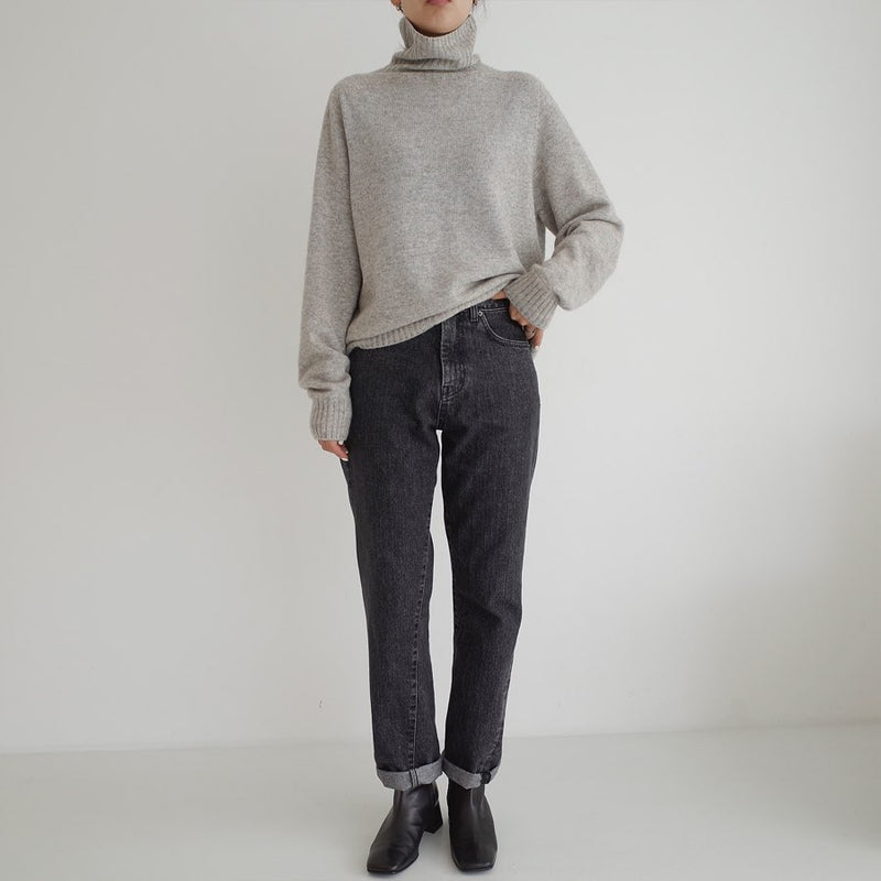 Soft Grey Wool Cashmere Blend Turtleneck