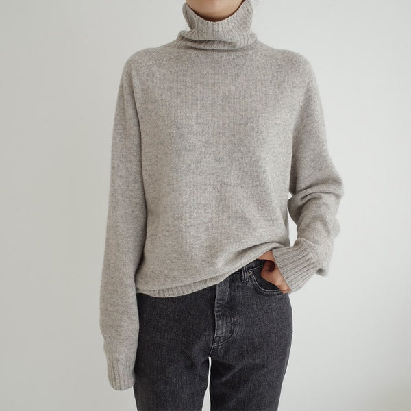 Sanna NY Grey Wool Turtleneck