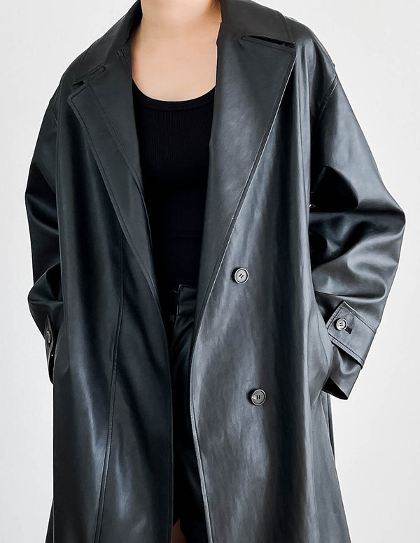 Bruni Vegan Leather Trench