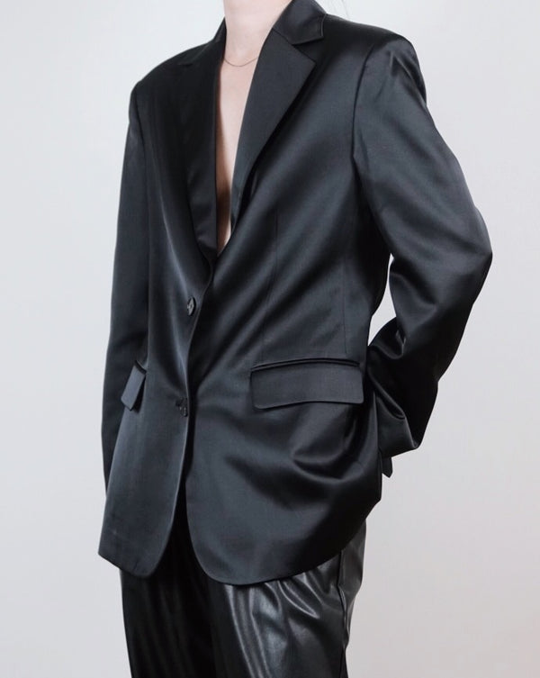 Black Satin Oversized Blazer