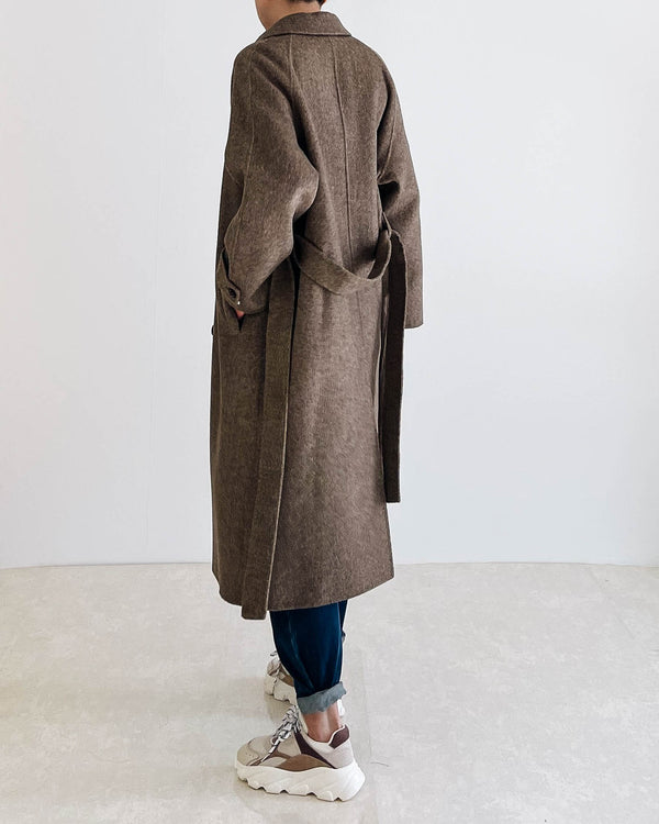 Cinta Herringbone Wool Overcoat