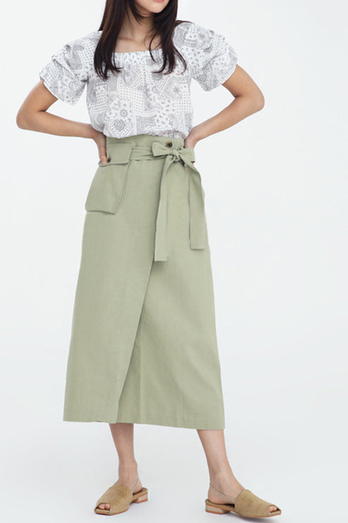 Sanna NY Keaton Pocket Wrap Skirt