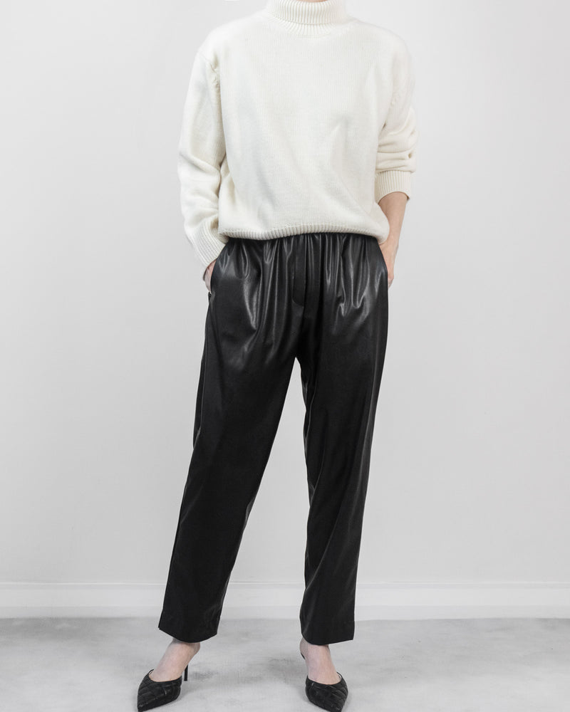 Pleated Leather Trousers