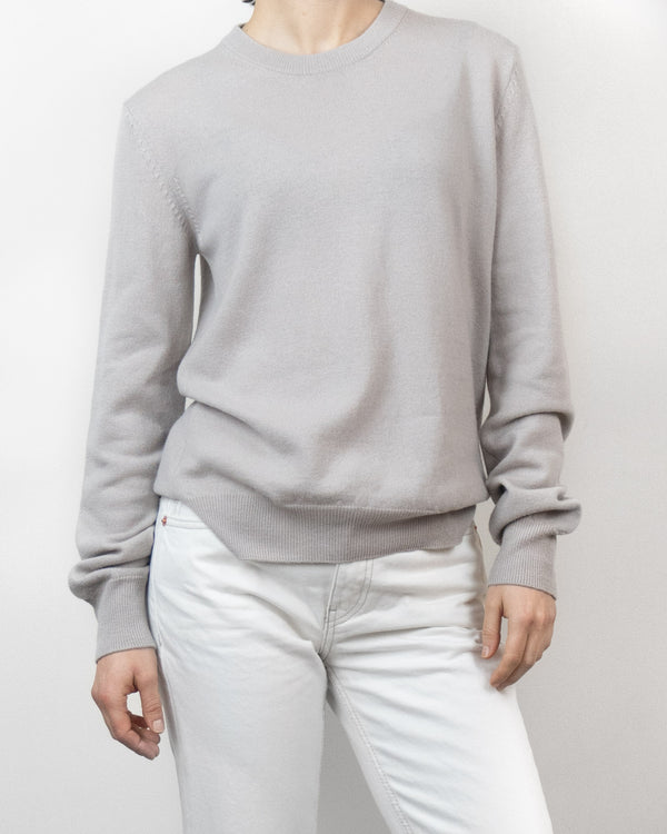 Beige Lightweight Wool Crew